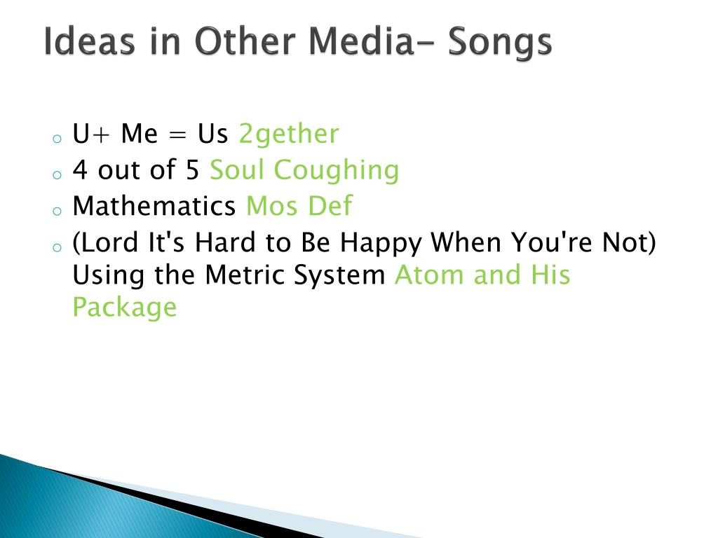 Ideas in Other Media- Songs