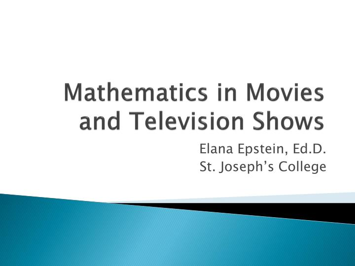 Mathematics in movies and television shows l.jpg