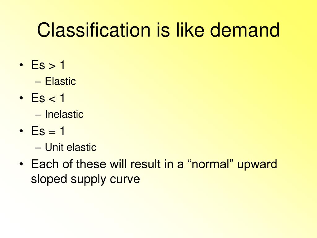 Classification is like demand