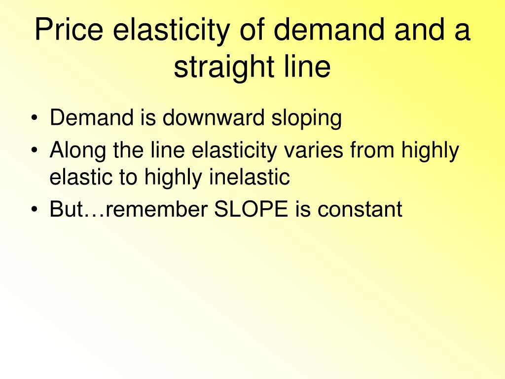 Price elasticity of demand and a straight line