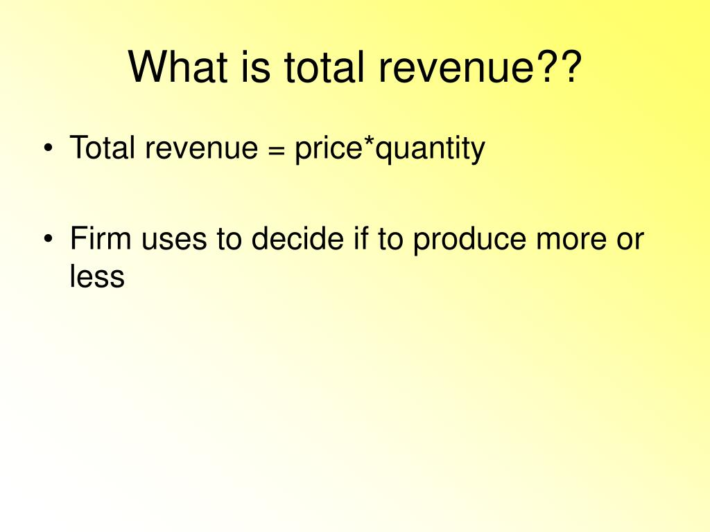What is total revenue??