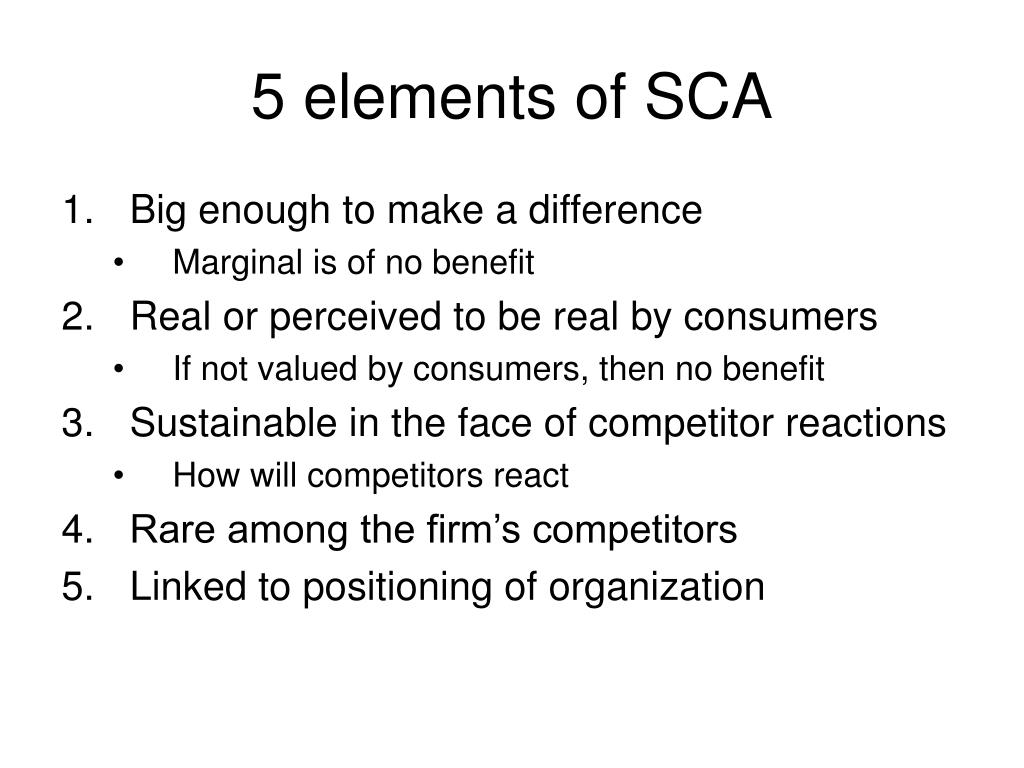 5 elements of SCA