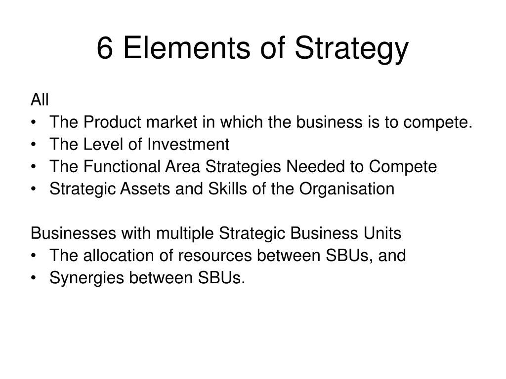 6 Elements of Strategy