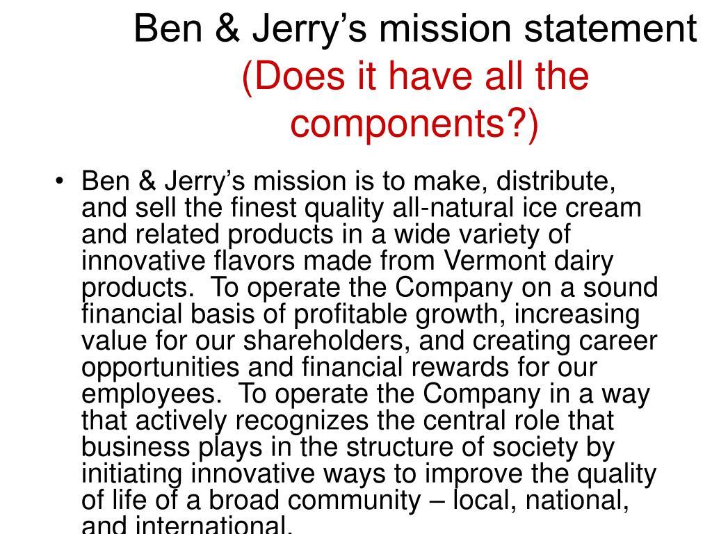 Ben & Jerry's mission statement