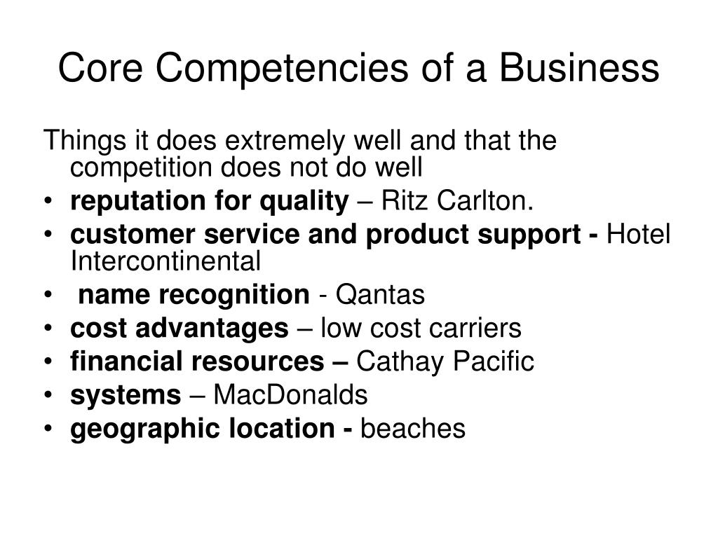 Core Competencies of a Business