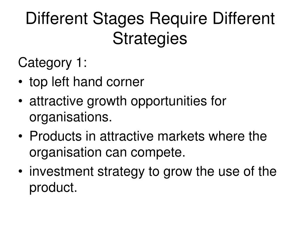 Different Stages Require Different Strategies