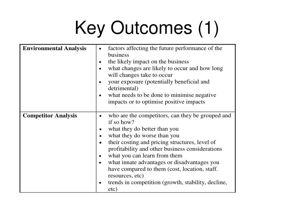 Key Outcomes (1)