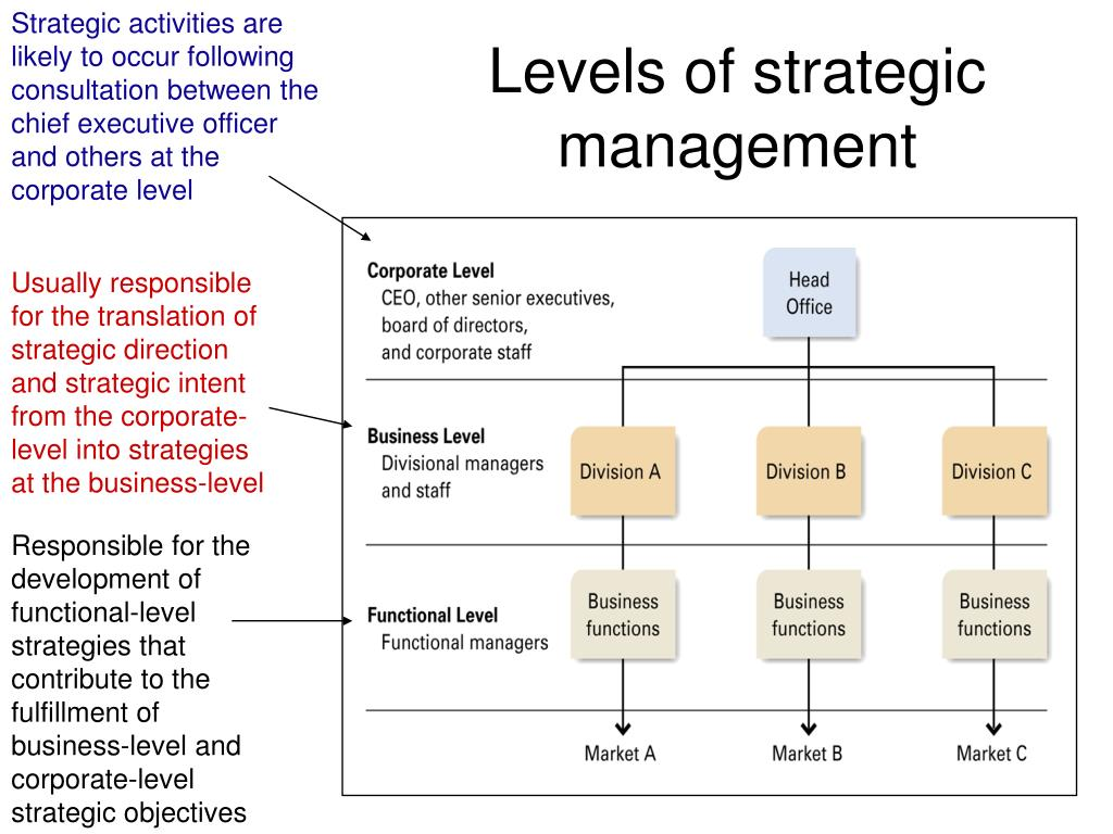 Strategic activities are likely to occur following consultation between the chief executive officer and others at the corporate level