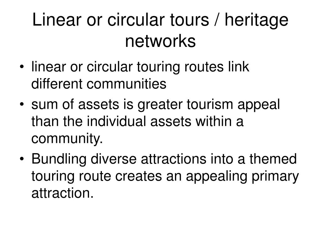 Linear or circular tours / heritage networks