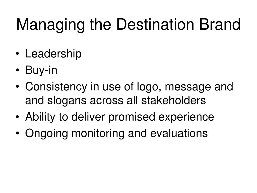 Managing the Destination Brand