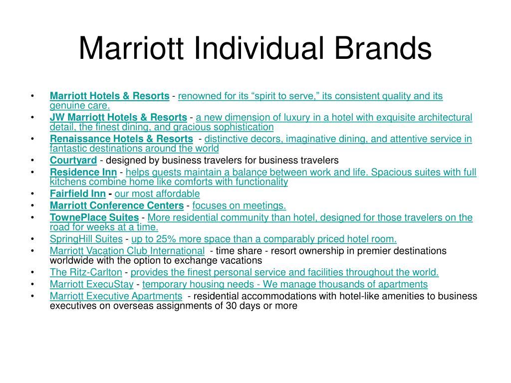 Marriott Individual Brands