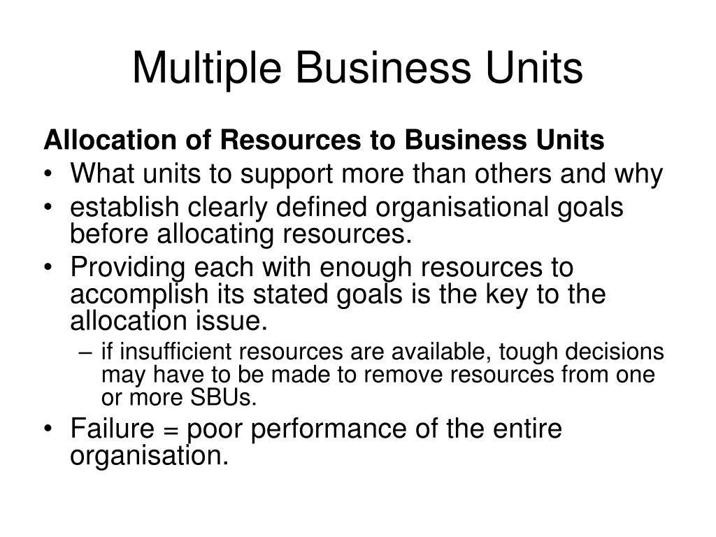 Multiple Business Units