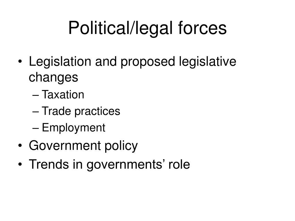 Political/legal forces