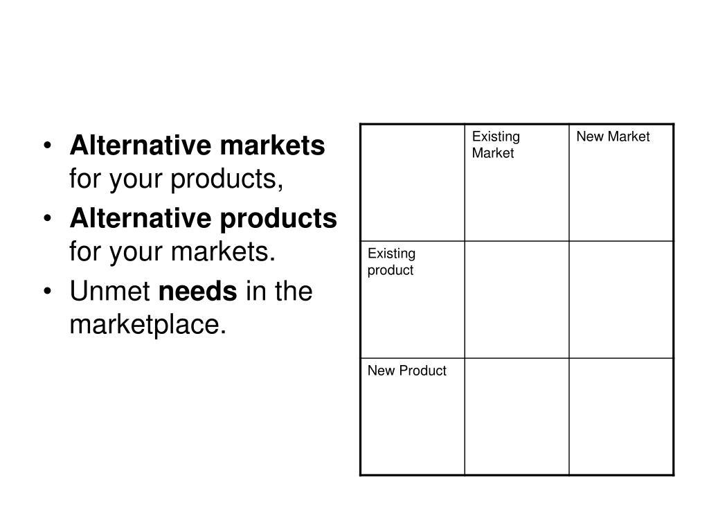 Alternative markets