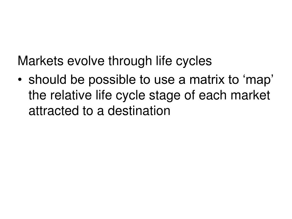 Markets evolve through life cycles