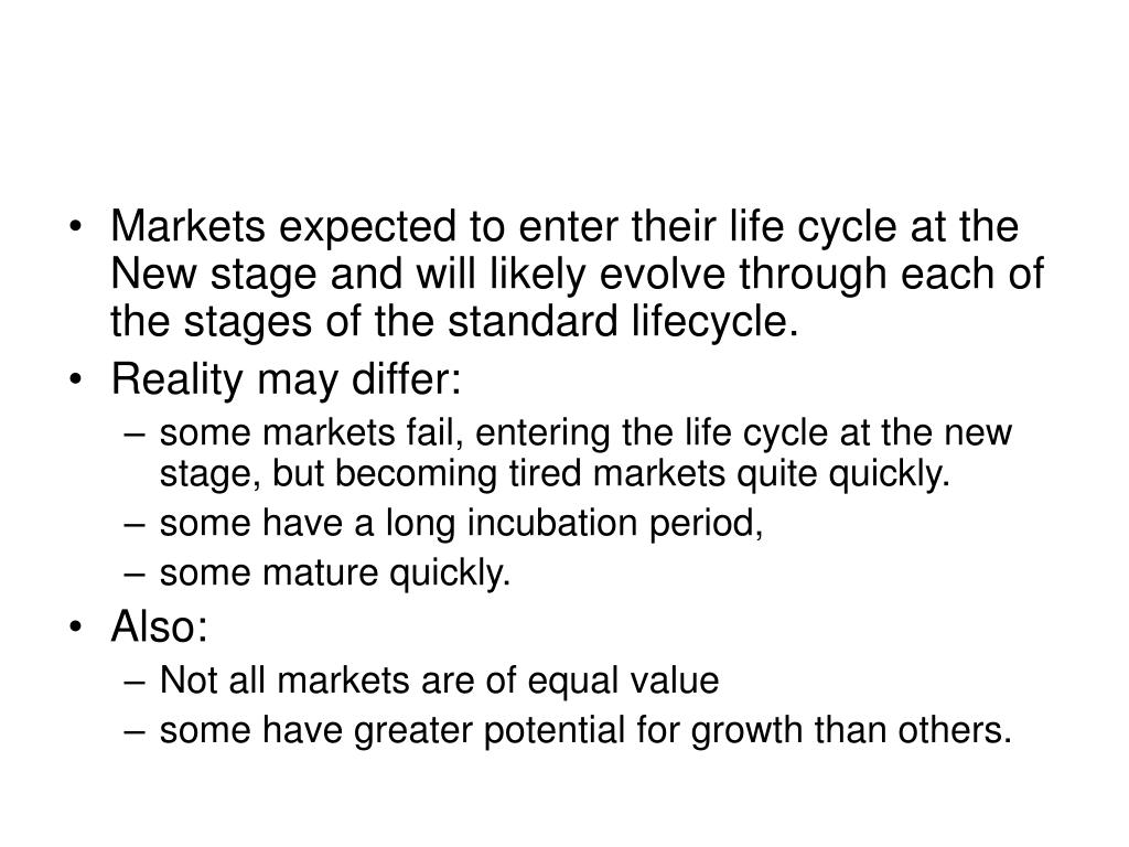 Markets expected to enter their life cycle at the New stage and will likely evolve through each of the stages of the standard lifecycle.