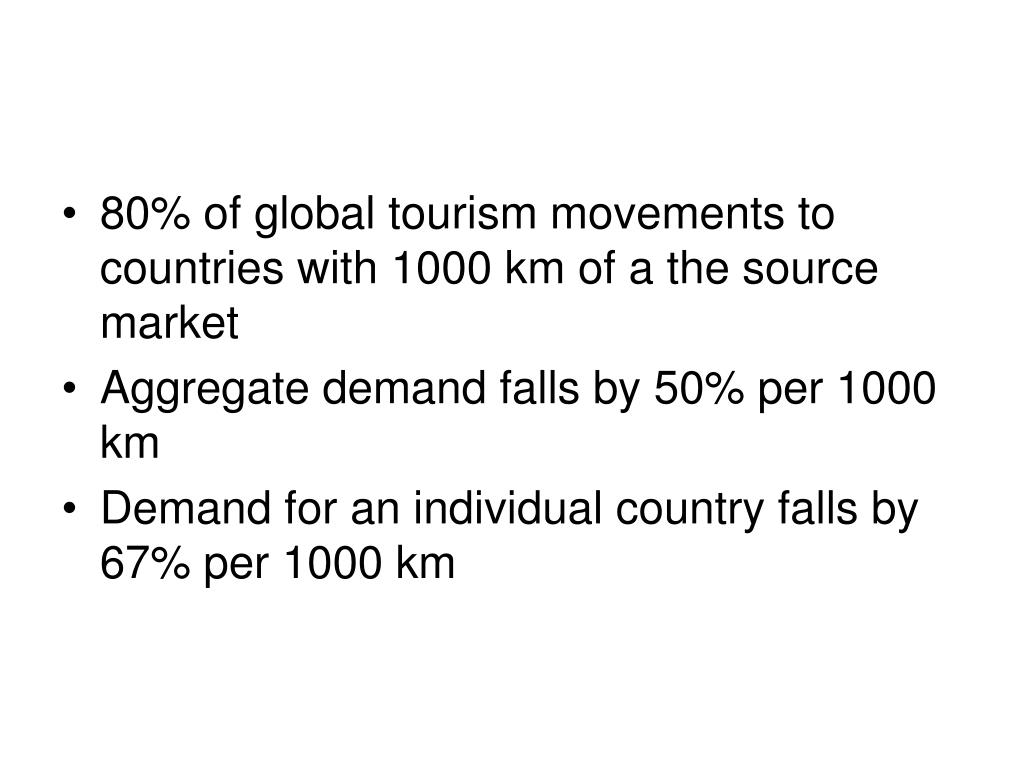 80% of global tourism movements to countries with 1000 km of a the source market