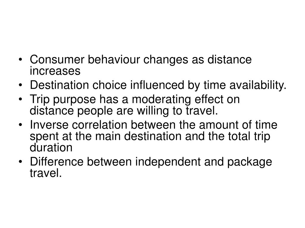 Consumer behaviour changes as distance increases