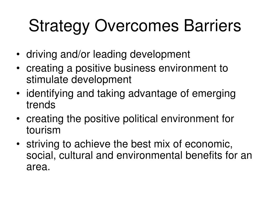Strategy Overcomes Barriers
