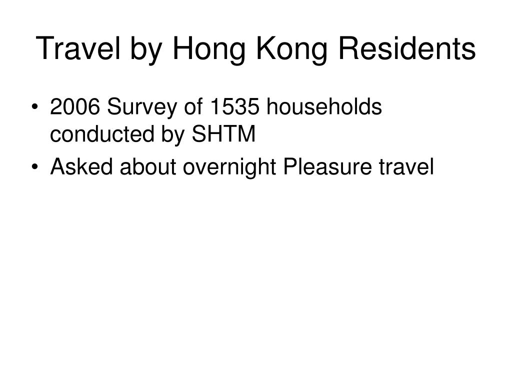 Travel by Hong Kong Residents