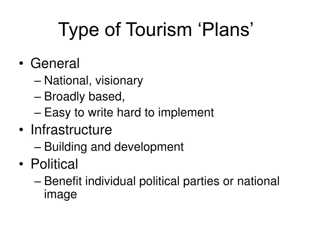 Type of Tourism 'Plans'