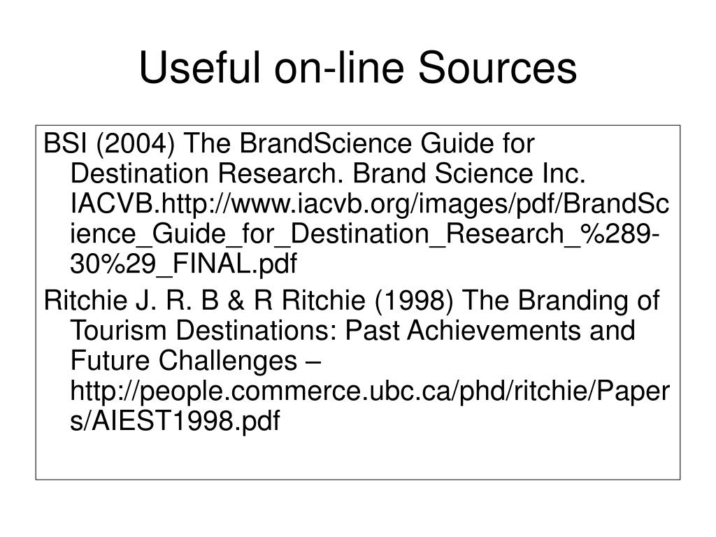 Useful on-line Sources
