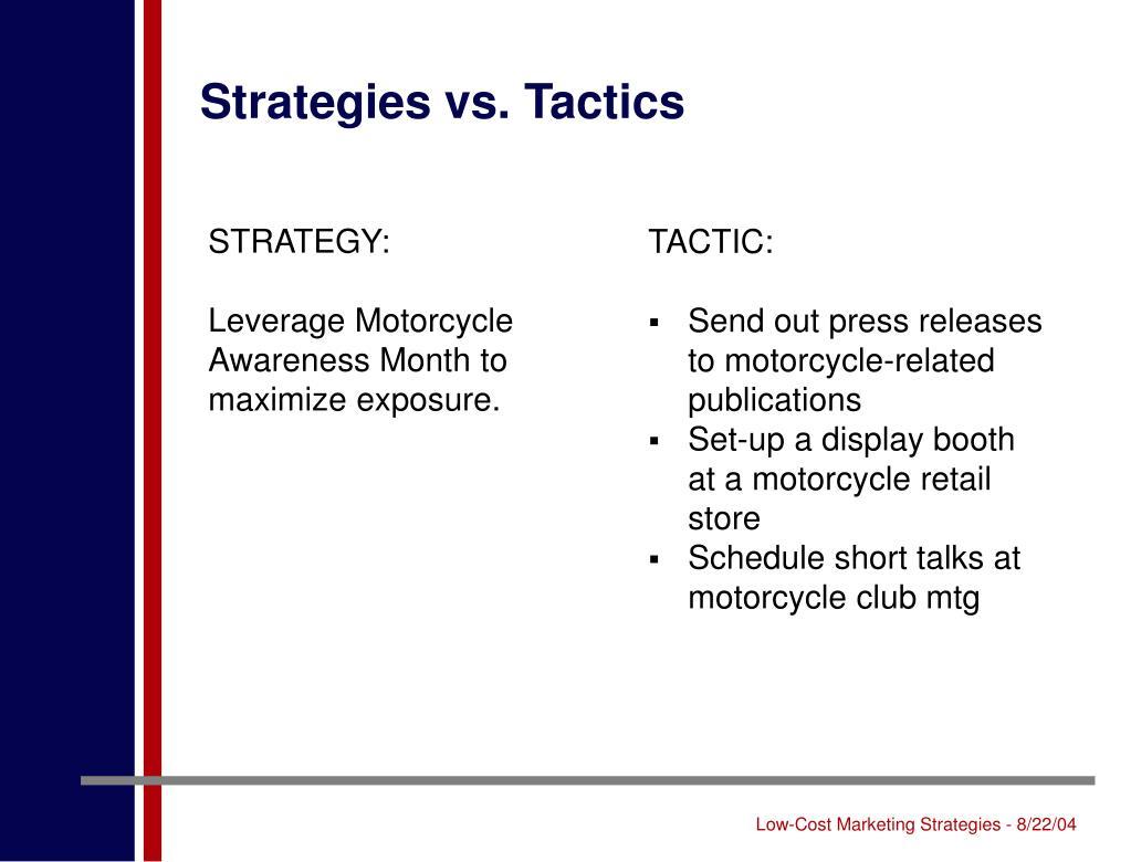 Strategies vs. Tactics