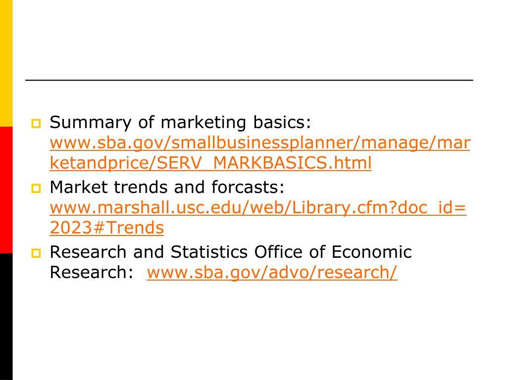 Summary of marketing basics: