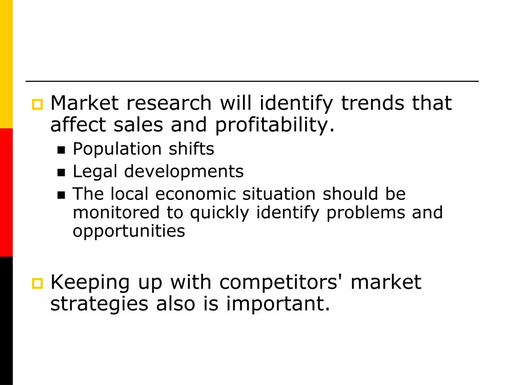 Market research will identify trends that affect sales and profitability.