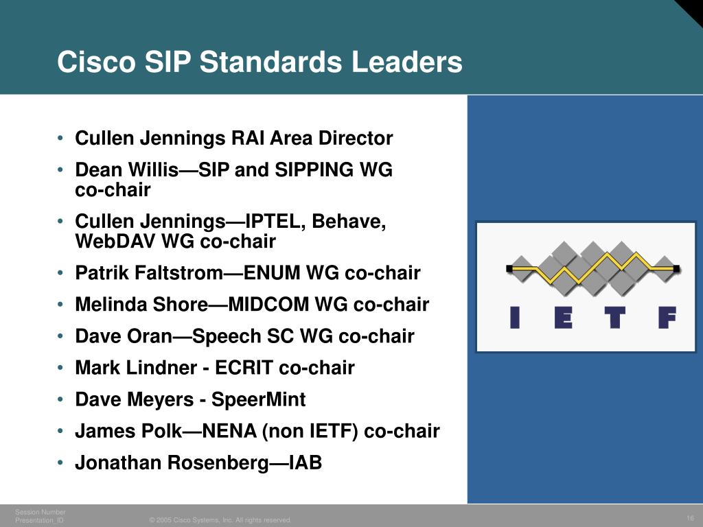 Cisco SIP Standards Leaders