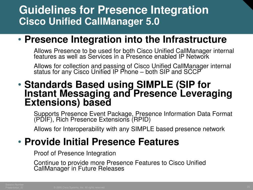 Guidelines for Presence Integration