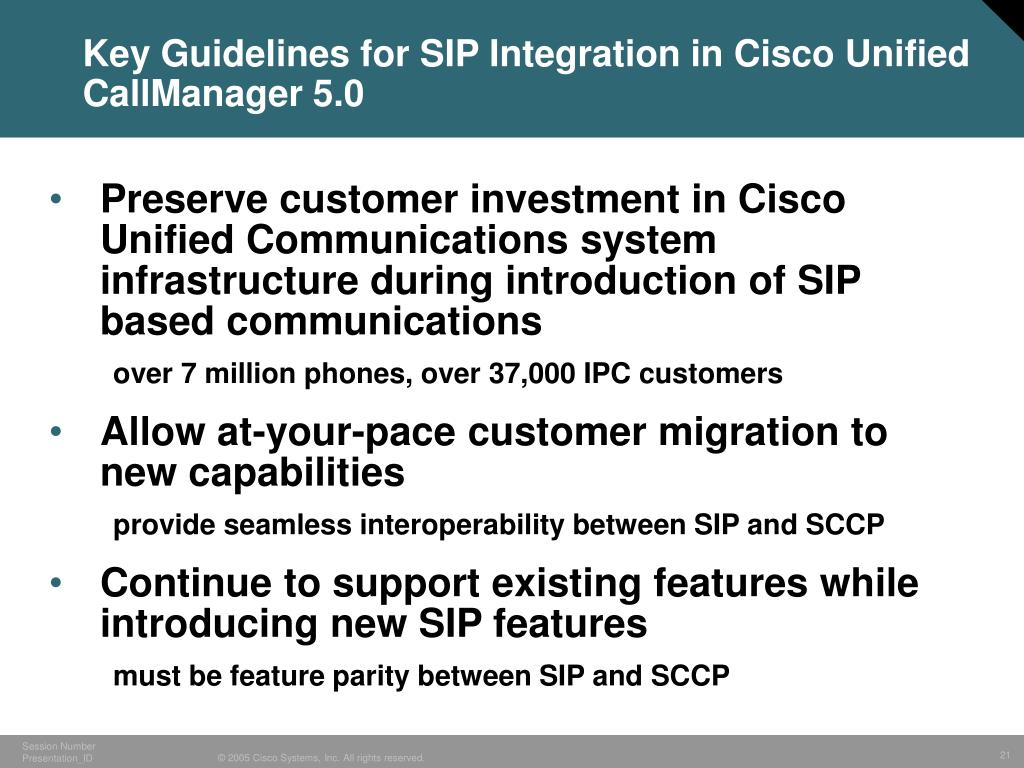 Key Guidelines for SIP Integration in Cisco Unified CallManager 5.0