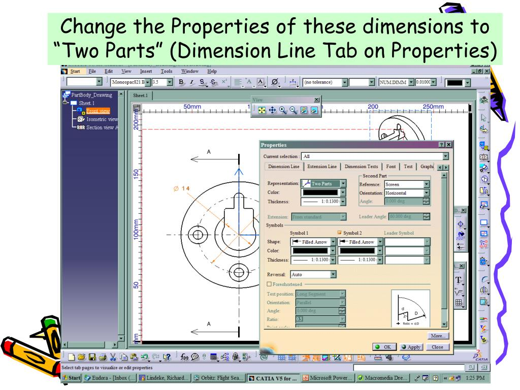 """Change the Properties of these dimensions to """"Two Parts"""" (Dimension Line Tab on Properties)"""