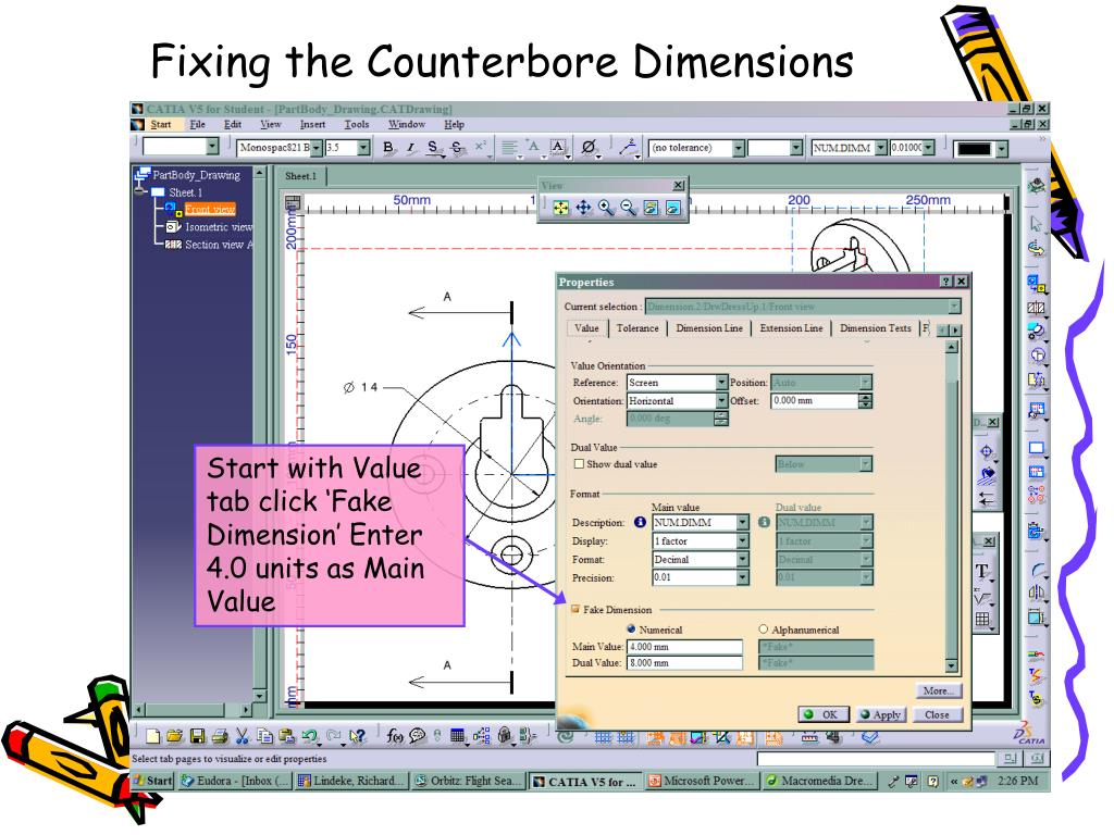 Fixing the Counterbore Dimensions
