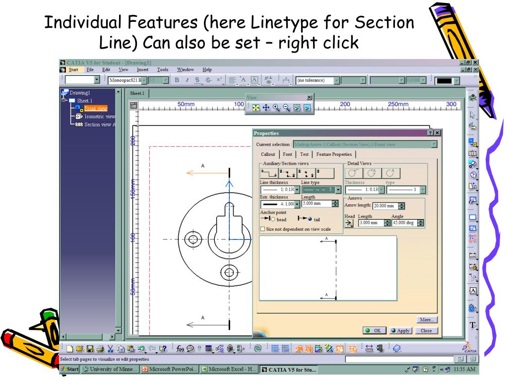Individual Features (here Linetype for Section Line) Can also be set – right click