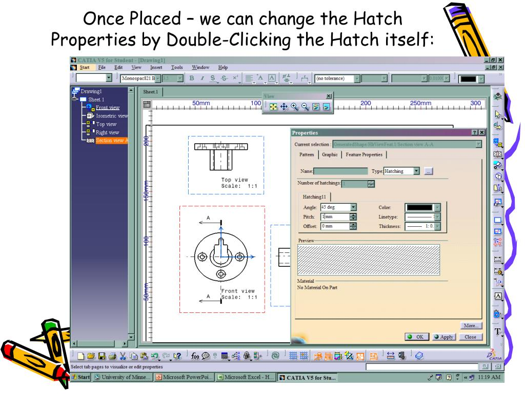 Once Placed – we can change the Hatch Properties by Double-Clicking the Hatch itself: