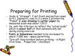 preparing for printing