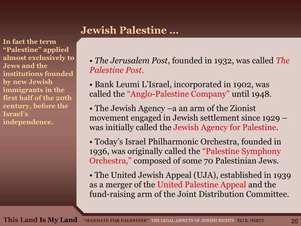 Jewish Palestine …