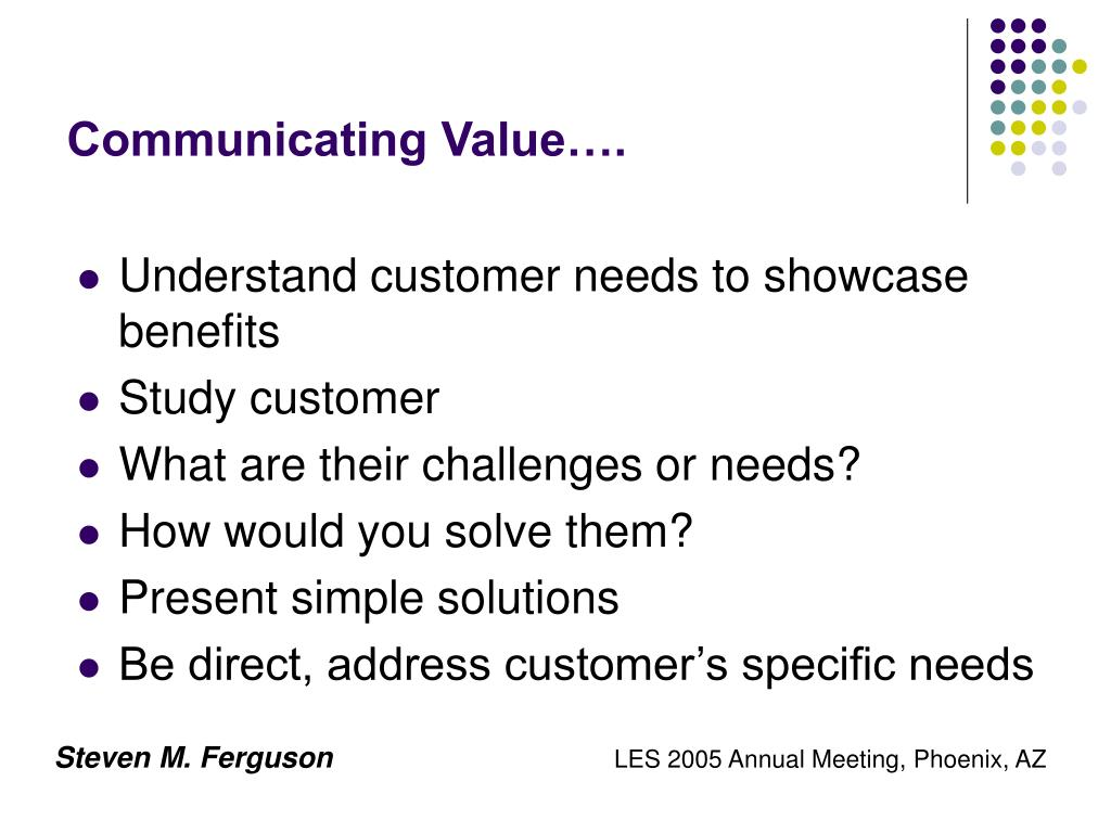 Communicating Value….