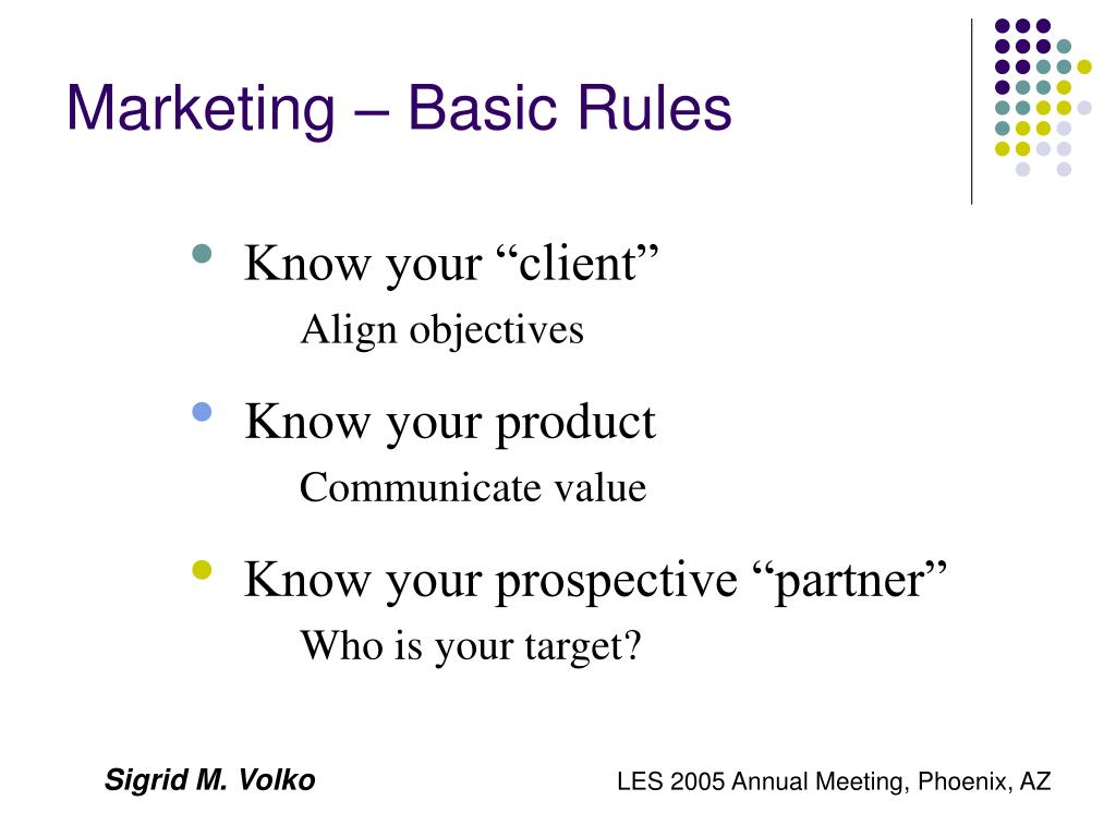 Marketing – Basic Rules