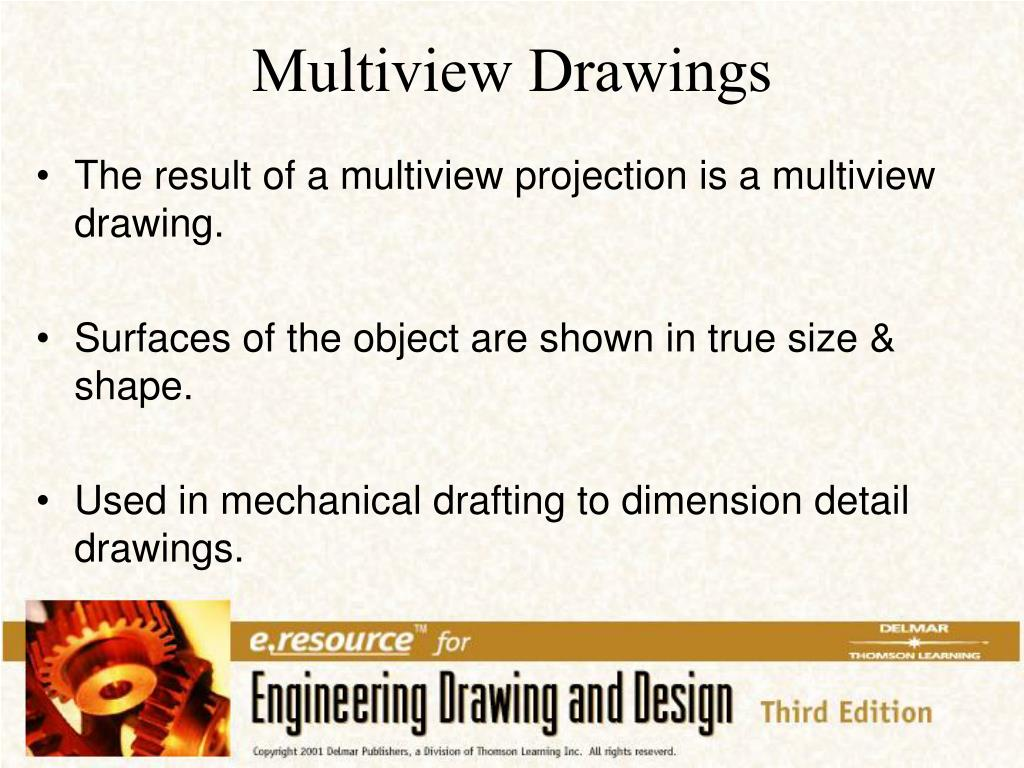 The result of a multiview projection is a multiview drawing.