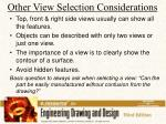 other view selection considerations