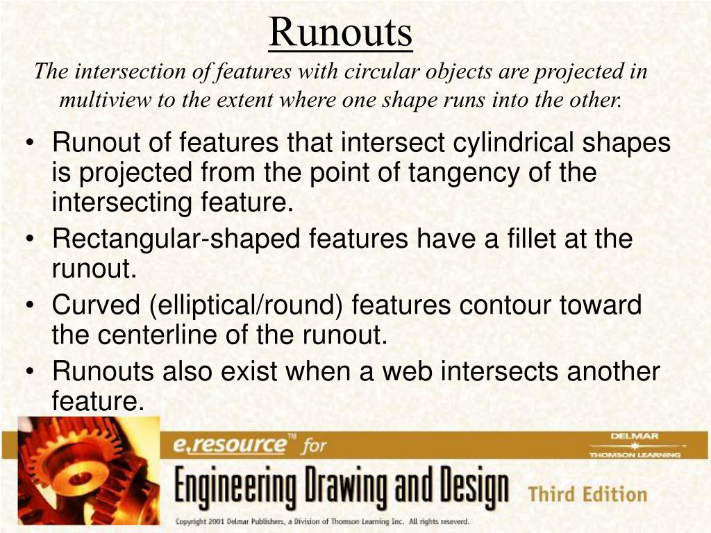 Runout of features that intersect cylindrical shapes is projected from the point of tangency of the intersecting feature.