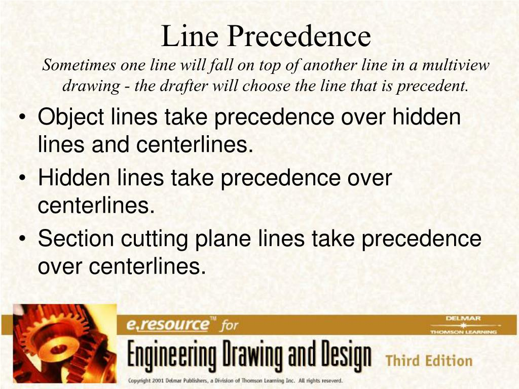 Object lines take precedence over hidden lines and centerlines.