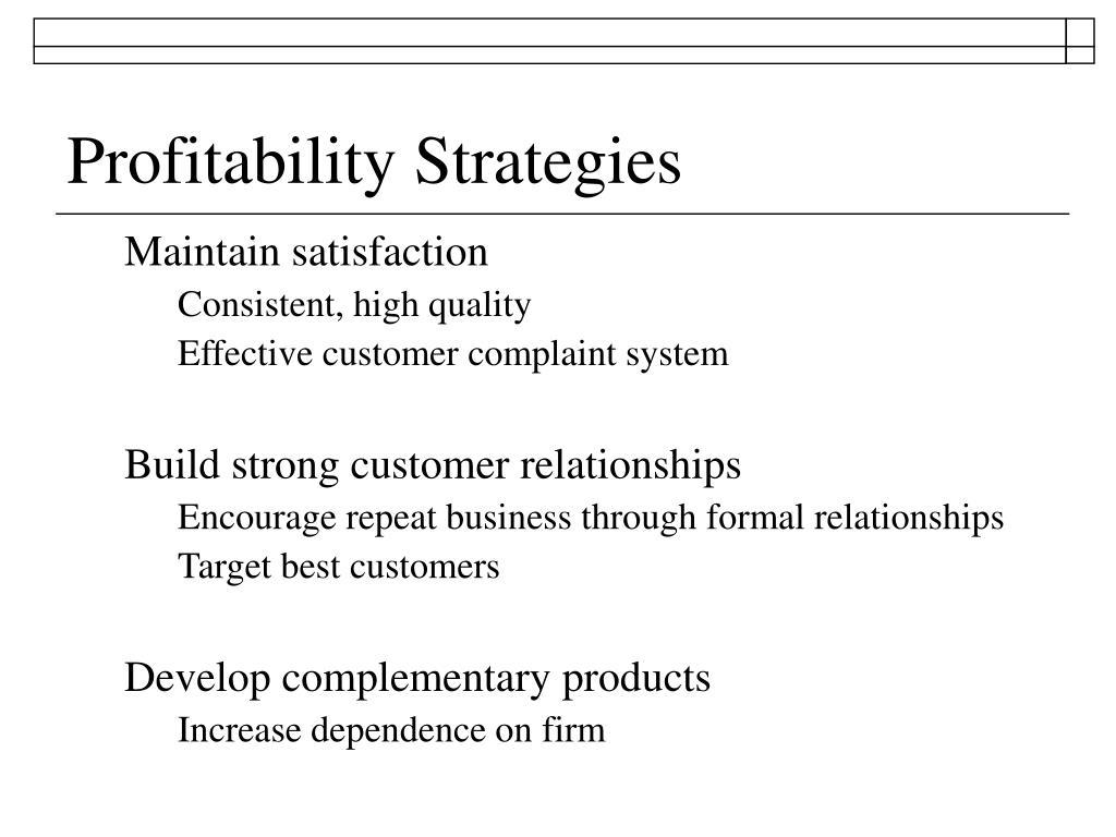 Profitability Strategies