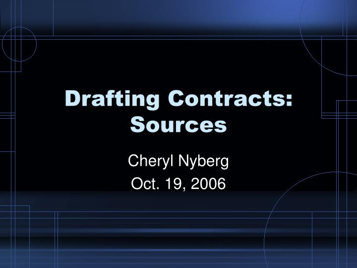 Drafting contracts sources