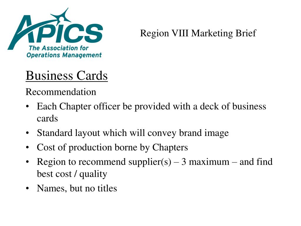 Region VIII Marketing Brief