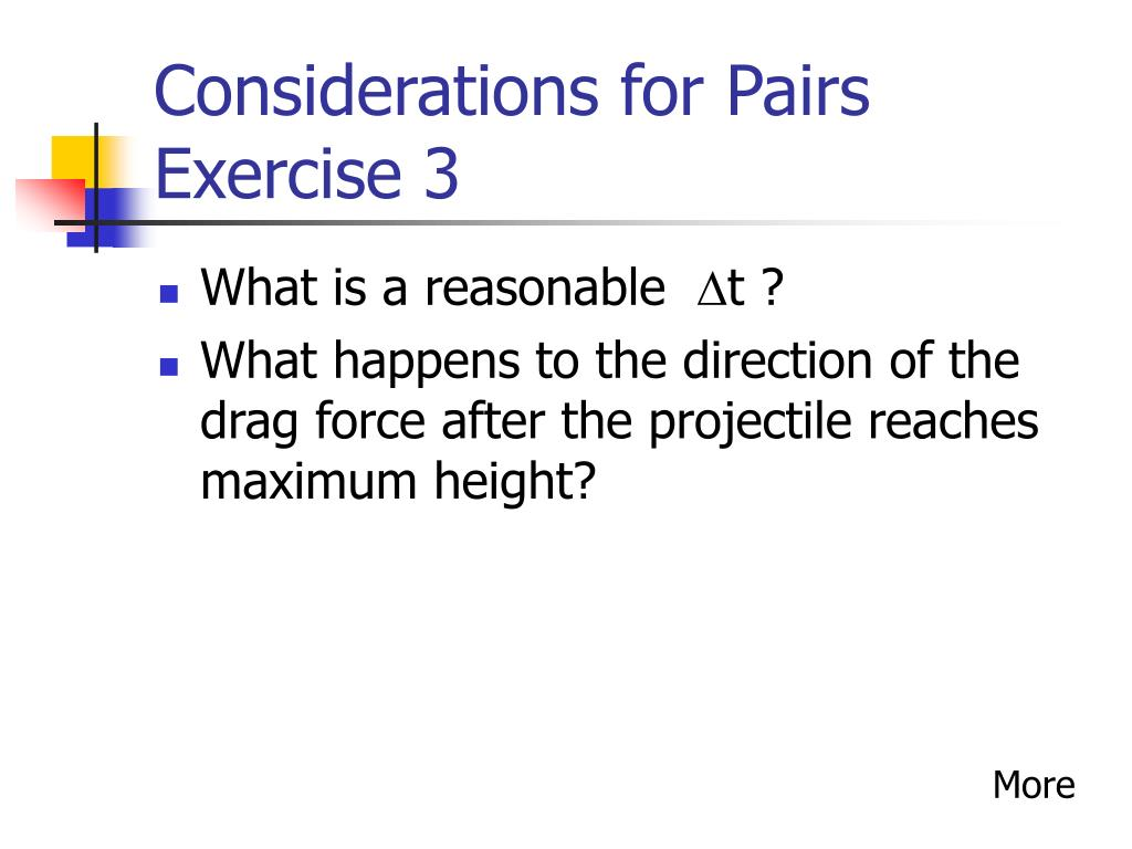Considerations for Pairs Exercise 3