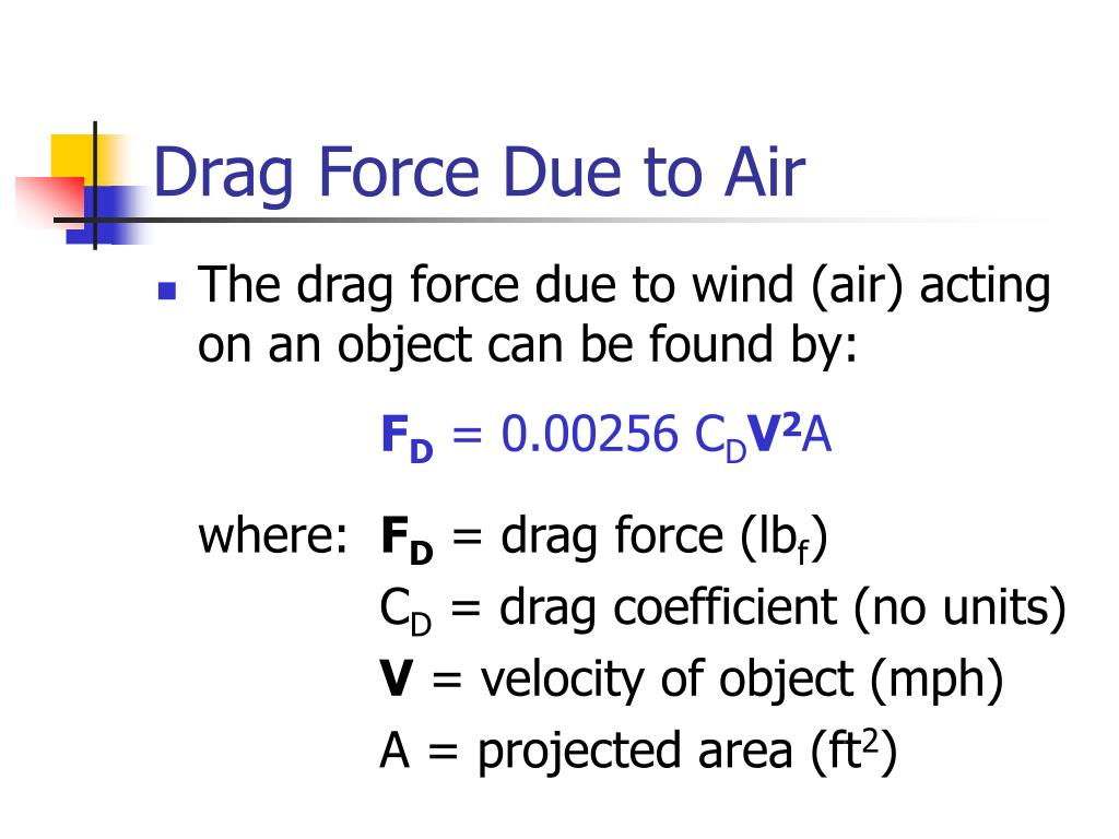 Drag Force Due to Air