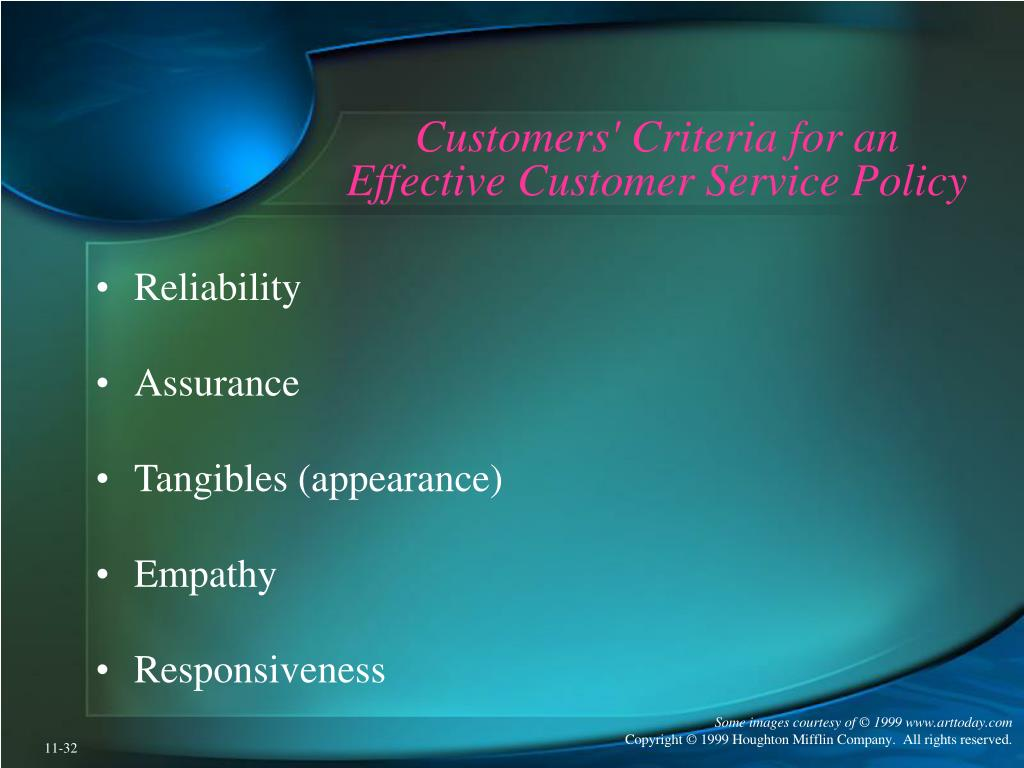 Customers' Criteria for an Effective Customer Service Policy